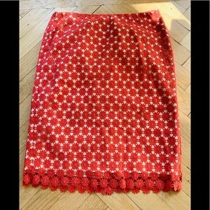 Talbots Size 2 crocheted eyelet lined skirt
